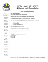 2017 – 04 – 19 – PSA – QIA Pond Inlet by-election official results