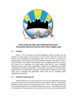 Application Fee, Rent and Compensation Policy for Surface Rights Access or Use of Inuit Owned Lands