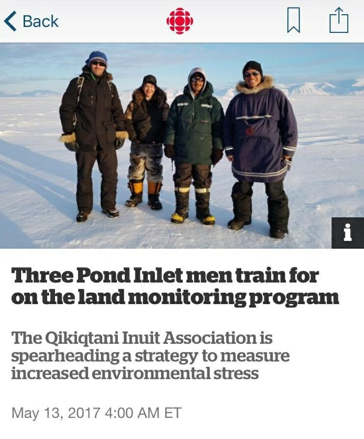 CBC North – Three Pond Inlet men train for on the land monitoring program