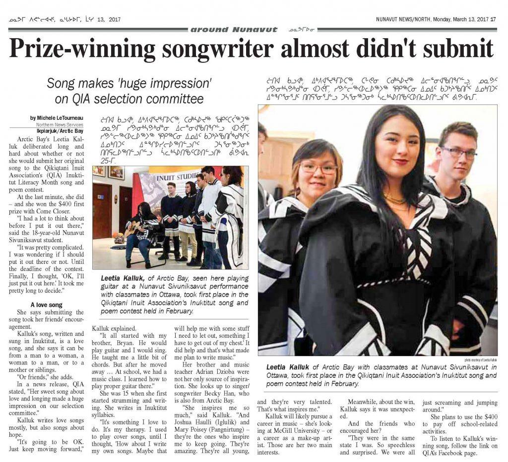Nunavut News North – Prize-winning songwriter almost didn't submit
