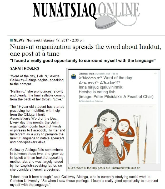 Nunatsiaq News – Nunavut organization spreads the word about Inuktut, one post at a time