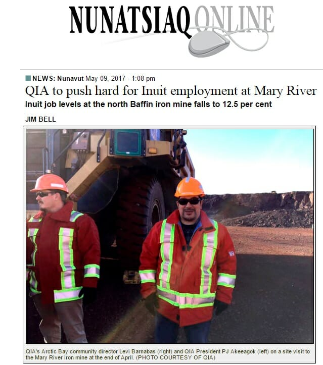 Nunatsiaq News – QIA to push hard for Inuit employment at Mary River