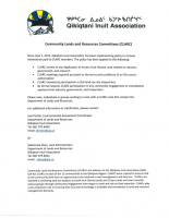QIA Community Lands and Resources Committees-Cost Recovery