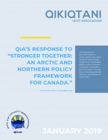 "QIA'S Response to ""Stronger Together: An Arctic and Northern Policy Framework for Canada."""